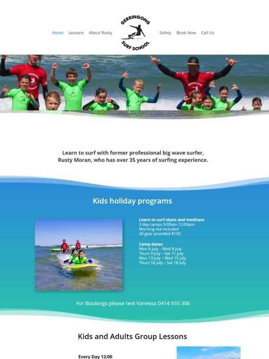 gerringong surf school website